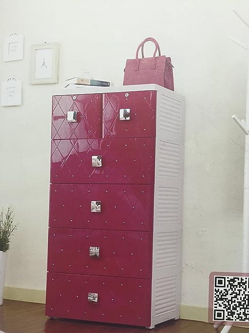 Cómoda fucsia, 4 cajones grandes y 2 pequeños, mueble habitacion, cajonera baño, organizador altura 114 cm G-50625RO