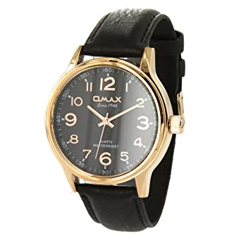 Amazon.com: Omax Stainless Steel Watch In Black Leather Straps And ...