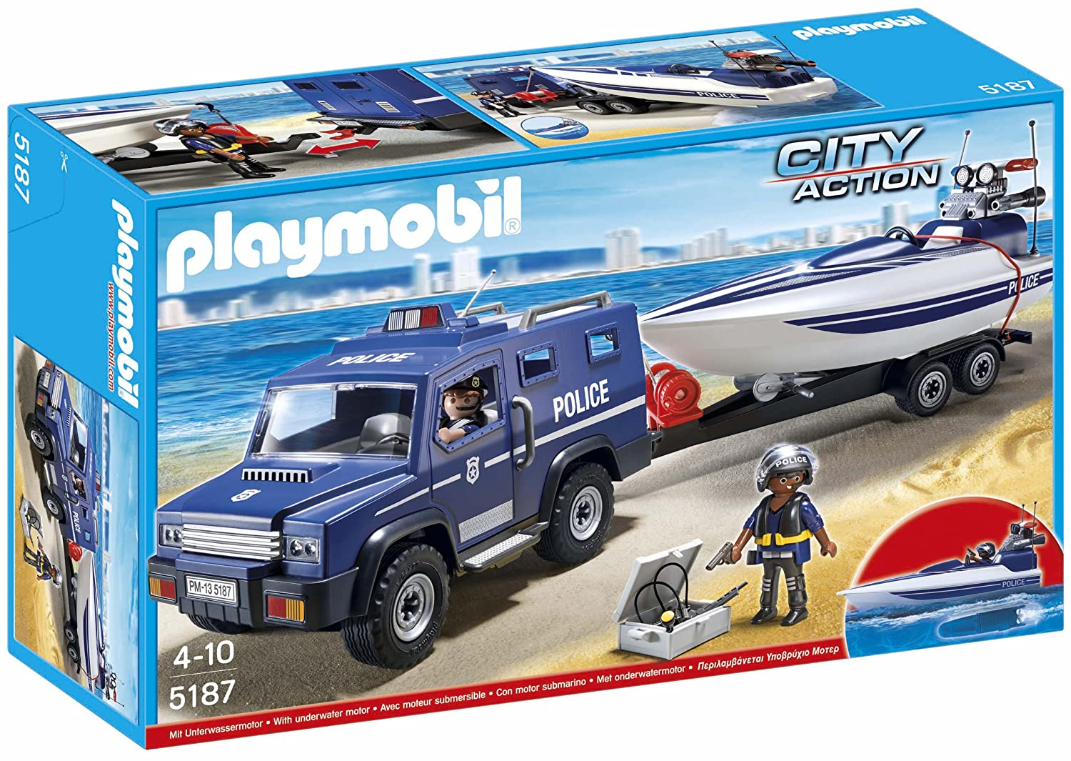 playmobil city action 5187 police truck with speedboat. Black Bedroom Furniture Sets. Home Design Ideas