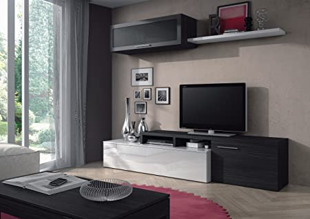 Mueble de salon comedor , color blanco brillo y ceniza - Due-home