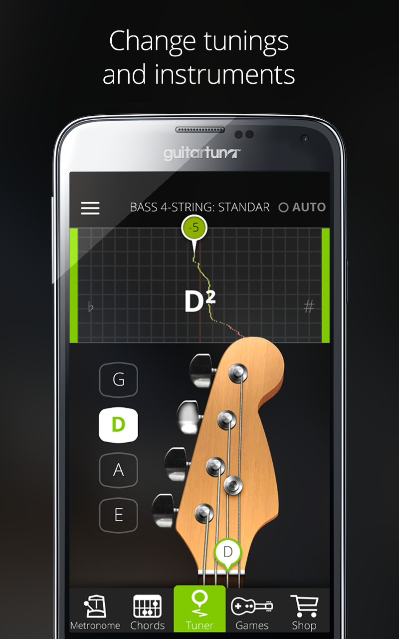 Tuner for Guitar, Bass and Ukulele with Chord tab game and Metronome