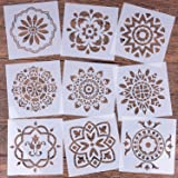 LOCOLO Mandala Reusable Stencil Set of 9 (6x6 inch) Painting Stencil, Laser Cut Painting Template for DIY Decor, Painting on Wood, Airbrush, Rocks and Walls Art (Tamaño: Pattern 3)