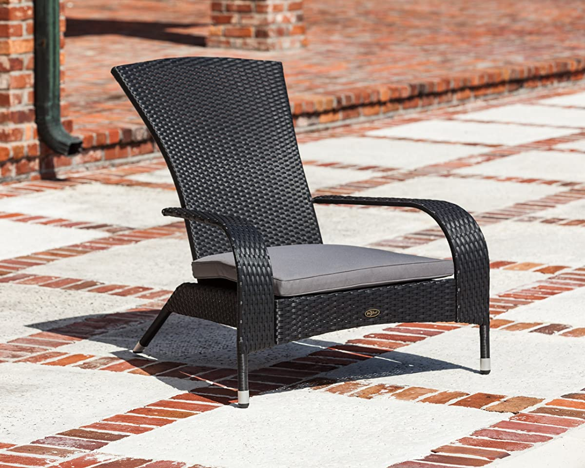 Patio Sense 62430 Coconino Wicker Adirondack Chair, Black