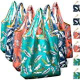 Reusable Grocery Shopping Bags Foldable with Pouch, Heavy Duty Nylon Cloth Reusable Bags for Groceries, Shopping Trip (Leaves, 6-pcs) (Color: Leaves, Tamaño: 6-pcs)
