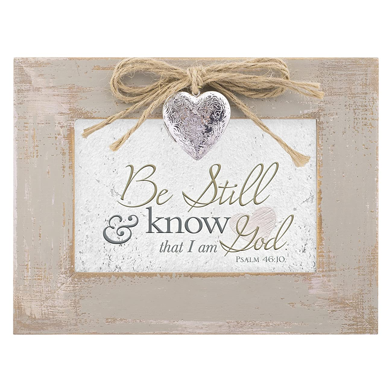 Be Still & Know That I am God Distressed Wood Locket Jewelry Music Box Plays Tune Amazing Grace 1
