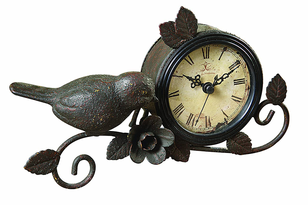 Creative Co-op Shabby Cottage Chic Metal Bird Desk Clock Home Decor 0