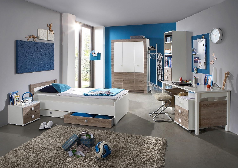 "Komplettset ""KIRA"" Jugendzimmer 4tlg. Bett Schrank Schreibtisch Regal Montana-Eiche"