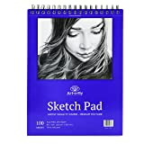 100 Sheets 9x12 Medium Texture Sketchpad for Drawing General Use Spiral Bound Sketch Pad for Pencil Pastel Sketching Sketchbook (Tamaño: 9-x-12-Inch)