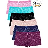 Barbra's 6 Pack of Women's Plus Size Lace Boyshort Panties (3XL) (Color: Guaranteed Fit: Longer Length, Tamaño: XXX-Large)