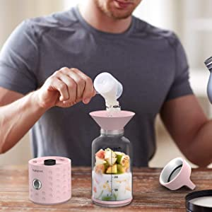 PopBabies Portable Blender, Mini Smoothie Maker with USB Rechargeable, Larger Stronger and Faster, Blending While Charging with Brush, Funnel, Recipe Princess Pink(FDA BPA Free) (Color: Recipe Princess Pink(FDA BPA free), Tamaño: Mini Smoothie Maker with USB rechargeable, Larger Stronger and Faster, Blending while Charging with)
