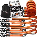 FORTEM Heavy Duty Ratchet Tie Down Straps 1.5 Inch | 8pc Set | 2250lb Load Strength & 4500lb Break Strength |Rubber Coated Handles| Metal Buckles & J-Hooks | 4 x 15ft Securing Straps & 4X Soft Loops (Color: Orange)