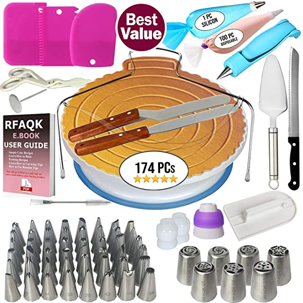 174 PCs Cake Decorating Supplies Kit for Beginners-1 Turntable stand- Cake server & knife set-48 Numbered Easy to use icing tips with pattern chart and E.Book-7 Russian Piping nozzles -2 Spatulas (Tamaño: 174 Pcs)