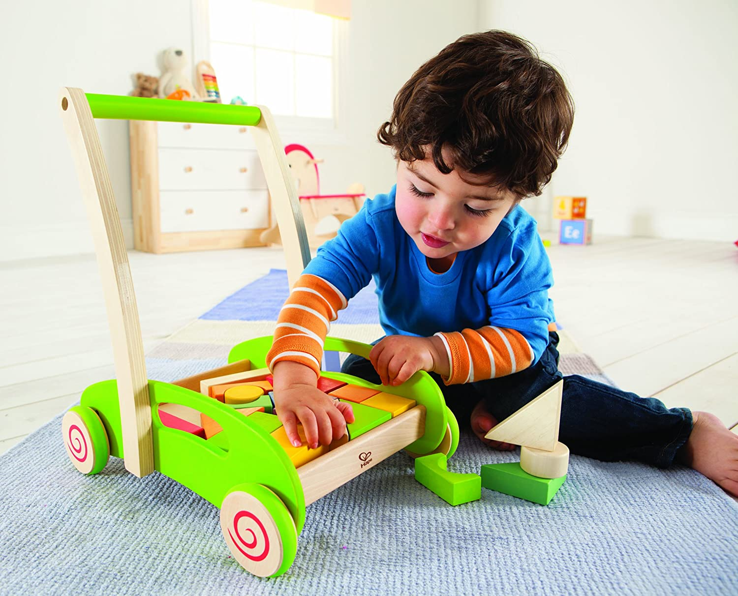 Hape Block and Roll. Baby learns sorting, shapes, colors.