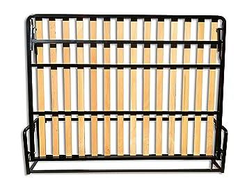 Letto a Scomparsa - Doppio letto piccolo orizzontale 140cm x 190cm (Letto Estraibile, Letto Pieghevole, Letto Richiudibile)