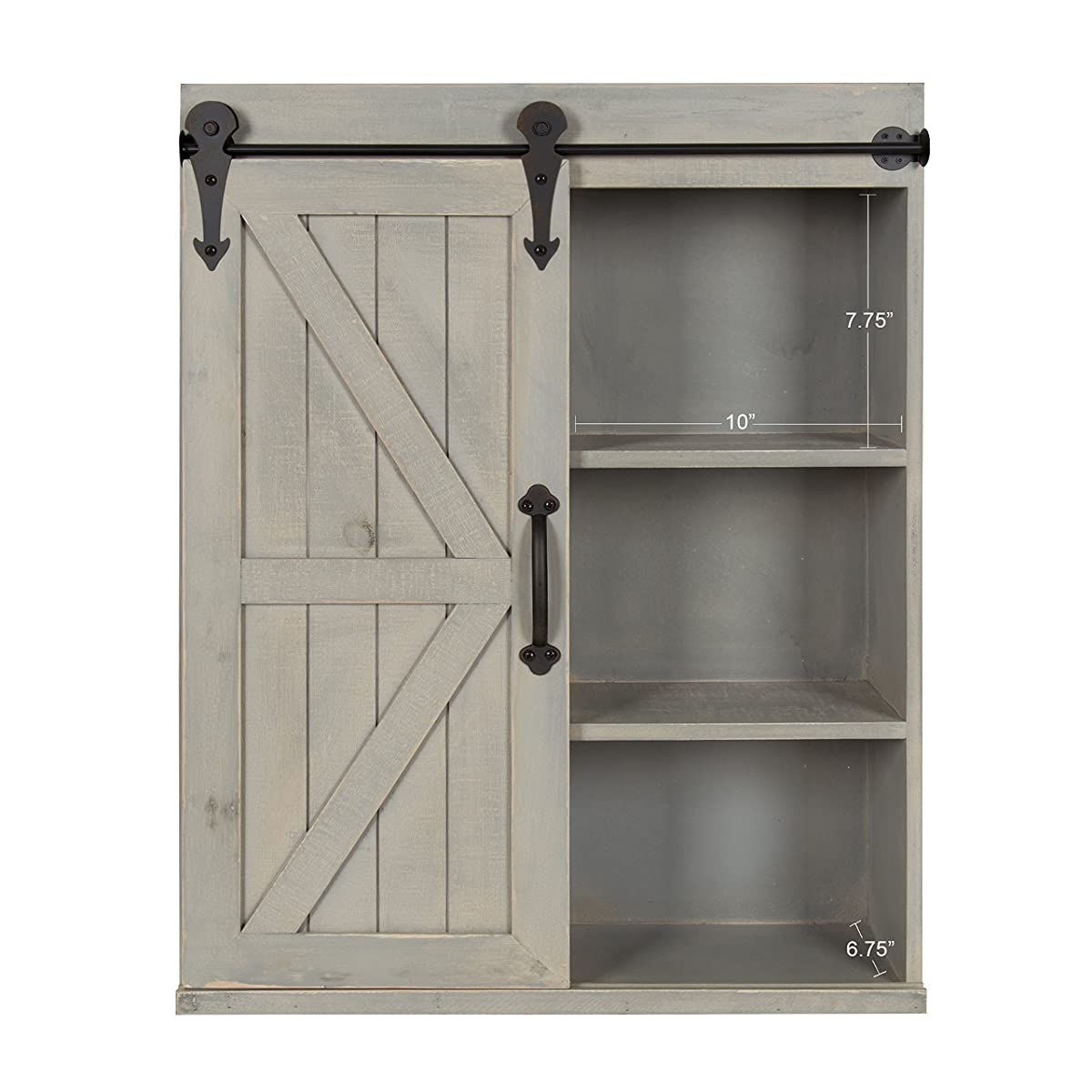 Kate and Laurel Cates Wood Wall Storage Cabinet with Sliding Barn Door, Rustic Gray