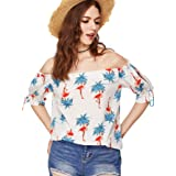 Milumia Women's Split Sleeve Flamingo Print Bardot Off Shoulder Blouse Top Medium White