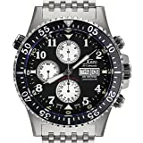 Xezo Men's Air Commando Diver, Pilot Swiss Automatic Valjoux 7750 Chronograph Wrist Watch. 2nd Time Zone. All Solid Steel. Diamond-cut Numbers. Waterproof 30 Bars (Tamaño: Large)