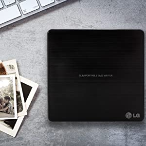 LG Electronics 8X USB 2.0 Super Multi Ultra Slim Portable DVD+/-RW External Drive with M-DISC Support, Retail (Black) GP65NB60