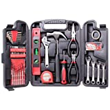 CARTMAN 136-Piece Tool Set - General Household Hand Tool Kit with Plastic Toolbox Storage Case (Tamaño: 136pk)