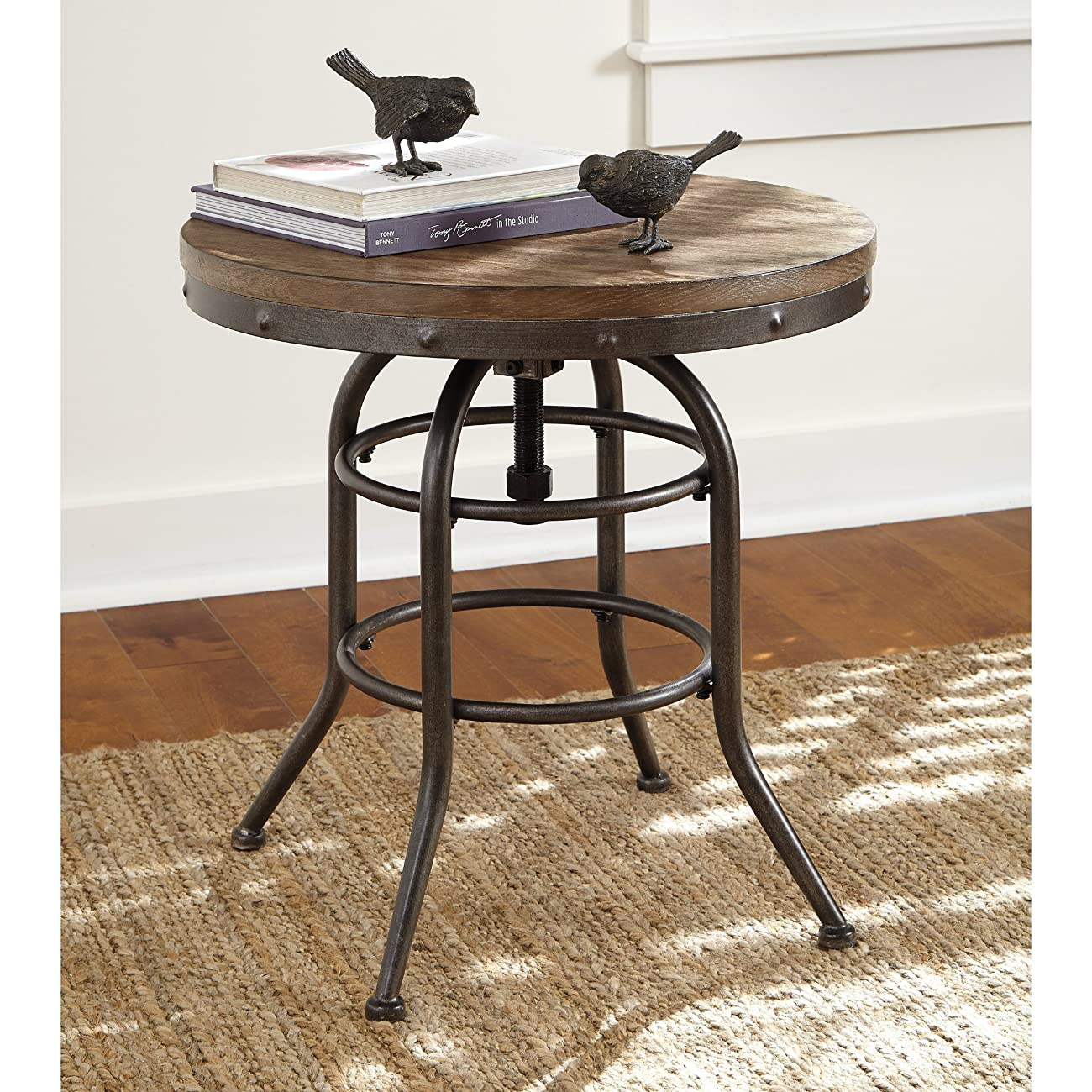 Spin Top For Adjustable Height Vennilux Chair Side End Table -Grayish Brown 0