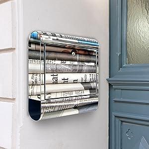 Design Briefkasten Edelstahl Briefkästen 38x42x11 von banjado mit Motiv Zeitungen   Kundenbewertung und Beschreibung