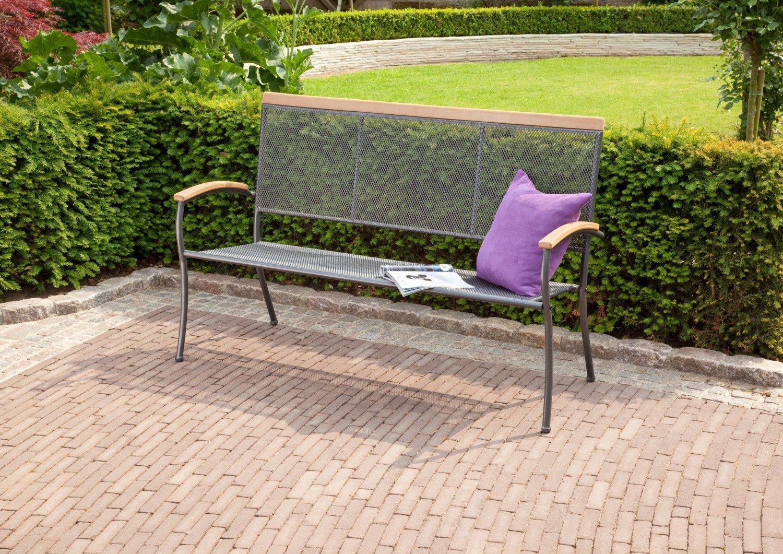 greemotion 3-er Stapelbank Genio, Gartenbank, 160 x 61 x 100 cm, aus Stahl, mit Resinarmlehnen, in eisengrau online bestellen