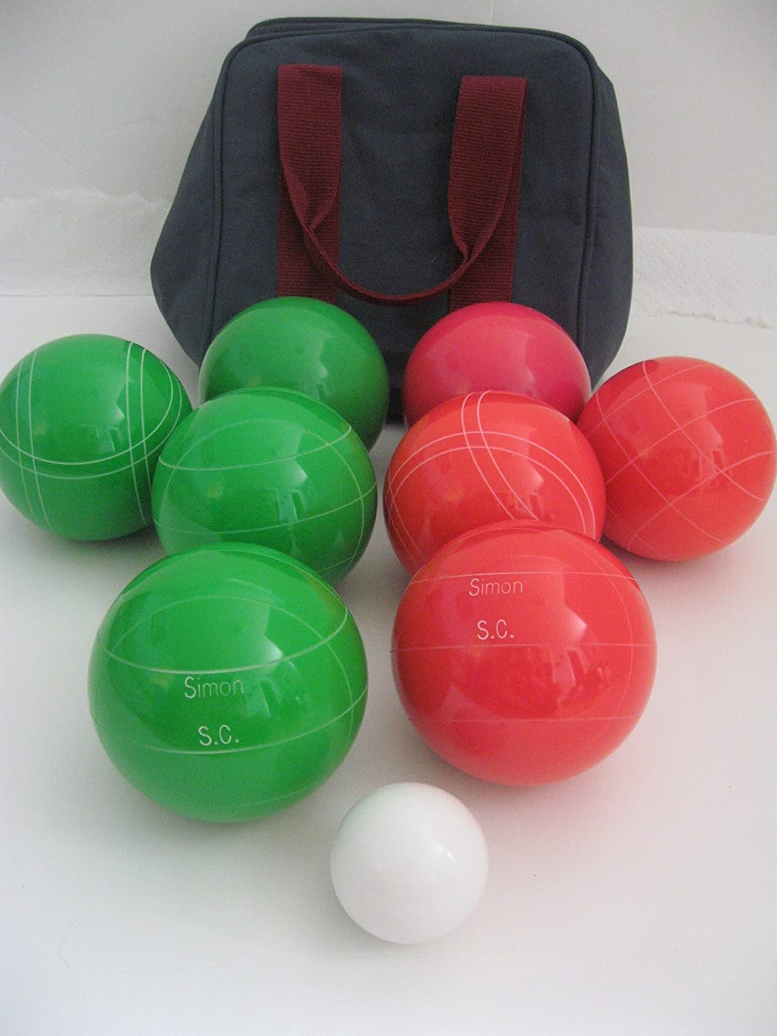 Premium Quality Engraved EPCO Bocce package - 107mm EPCO Green and Light Red ...