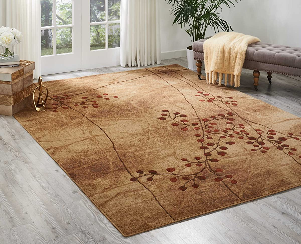 "Nourison Somerset (ST74) Flame Rectangle Area Rug, 7-Feet 9-Inches by 10-Feet 10-Inches (79"" x 1010"")"