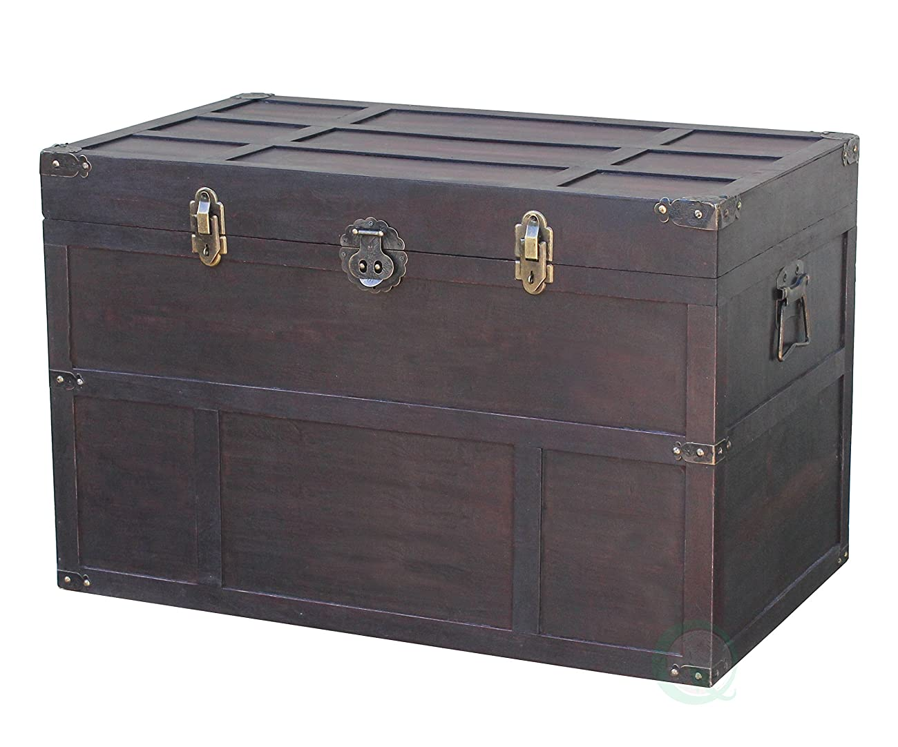 Vintiquewise Antique Style Wooden Steamer Trunk 2