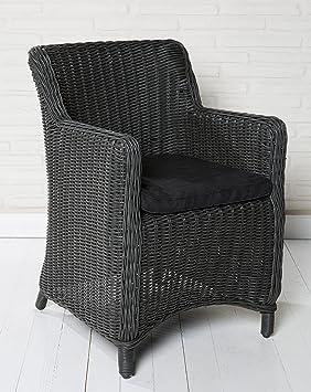 Juego de 4 sillas de jardín de mimbre, alta calidad, con cojín