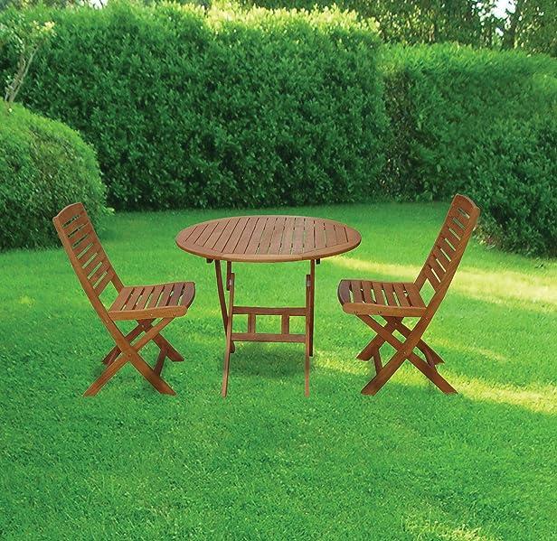 Set giardino Tudor tavolo tondo + 2 sedie in legno balu modello pieghevole