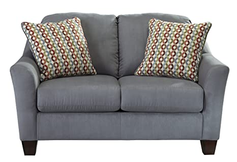 Hannin Contemporary Grey Fabric Loveseat
