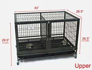 43 Stackable Heavy Duty Cage w/Feeding Doors and Divider or Additional Tray (DG-43-FT)
