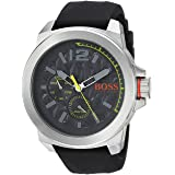 BOSS Orange Men's Quartz Stainless Steel and Leather Casual Watch, Color:Grey (Model: 1513347)