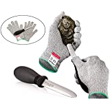 Rockland Guard Oyster Shucking Set- High Performance Level 5 Protection Food Grade Cut Resistant Gloves with 3.5'' Stainless steel Oyster Knife, perfect set for shucking oysters (Medium) (Color: Light Grey gloves, Black Grip Handle With Stainless Steel Oyster Knife, Tamaño: Medium)