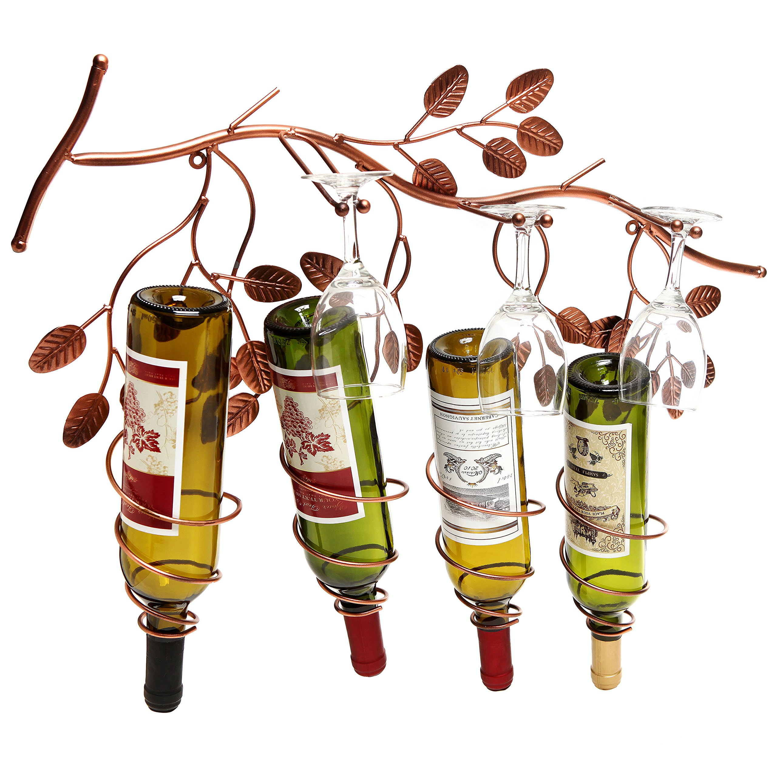 Wall Mounted Grapevine Design Spirally Wine Rack Metal