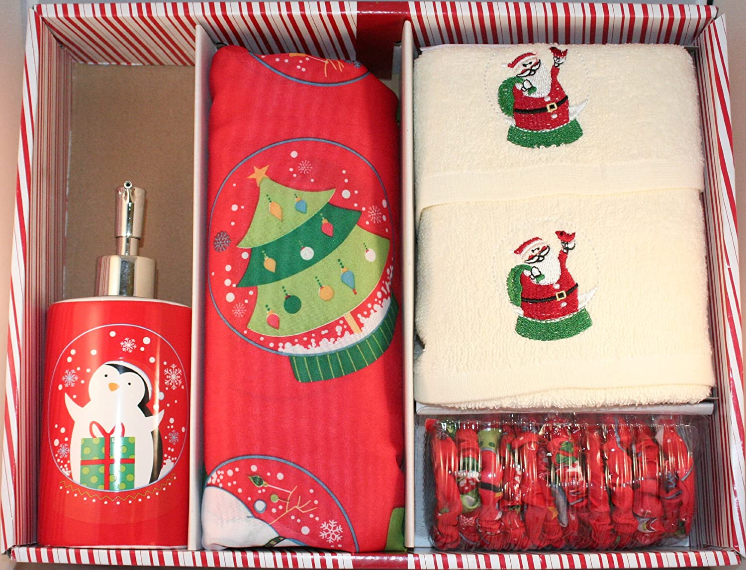 Santa's Globe Shower Curtain Set