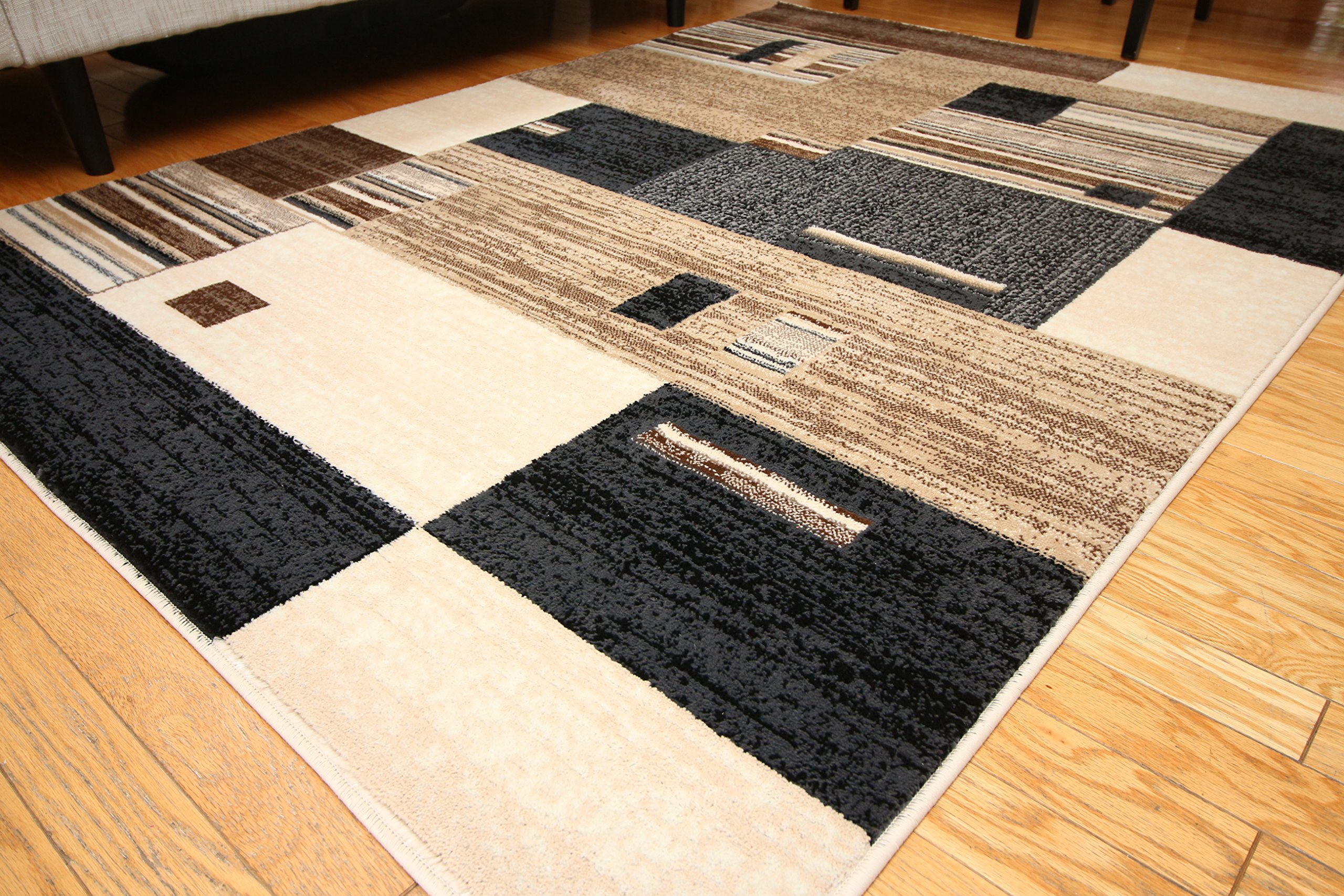Grey Tan And Brown Area Rug: Feraghan/New City Contemporary Modern Squares Wool Area