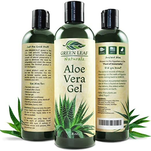 Green Leaf Naturals Organic Aloe Vera Gel, Pure Daily Moisturizer for Skin, Face and Hair, 8 ounce