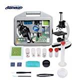 AOMEKIE Microscope for Kids Student Educational Beginners 300x to 1200X Magnifications Compound Monocular Biological Microscopes with Slides Metal Arm Base and Handy Storage Case (Tamaño: Kids Microscope)