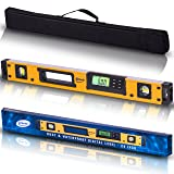 24-Inch Professional Digital Magnetic Level - IP54 Dust and Waterproof Electronic Level Tool - Get Master Precision with Shefio Smart Level, 2 AA Batteries + Carrying Bag (Color: Yellow and Black, Tamaño: 24 Inch)
