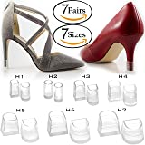7 Sizes 7 Pair Set Clear-Glass High Heel Protectors & Heel Repair Replacement Anti-Slip & for Grass Caps [Assortment Pack, Fits High Heel Shoes & Stiletto Tips] - 7 Hunks Set (Color: Clear, Tamaño: 7-Hunks Set)