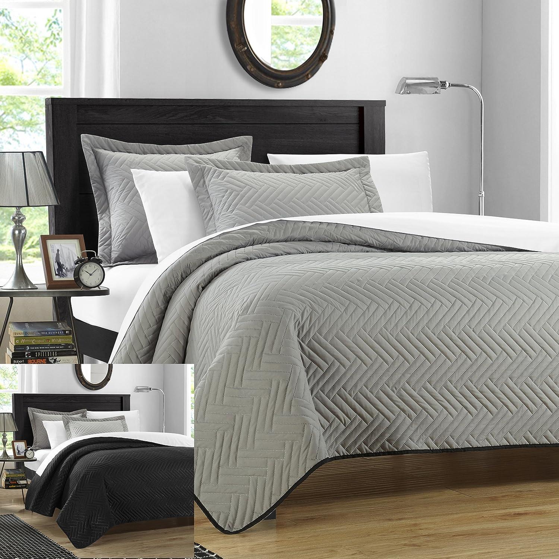 Wayfair basics wayfair basics 7 piece comforter set amp reviews - Chic Home 3 Piece Chevron Blocks Palermo Reversible Quilt Queen Silver