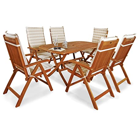 Indoba IND-70064-BASE7 plus IND-70411-AUHL Serie Bangor Gartenmöbel Set, 13-teilig aus Holz, Eukalyptus/ Beige, 150x85x74 cm