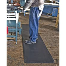 Tough Guy Polyurethane Anti-Fatigue and Anti-Slip Interlocking Mat, Right Section, Black