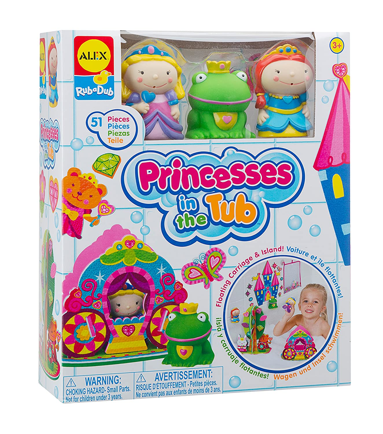 Princess and Castle Bath Squirter Toys With Mesh Storage Bag