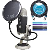 Blue Microphones Yeti PRO XLR & USB Condenser Microphone Bundle with Blucoil Pop Filter, 10-Ft XLR Cable and 5-Pack of Reusable Cable Ties (Tamaño: XLR Bundle)