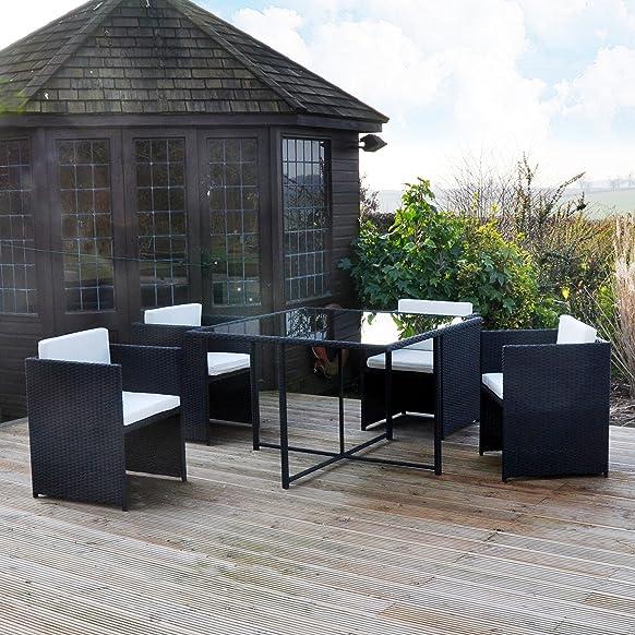 Kingfisher – Set composto da tavolo cubico e 4 sedie da giardino, effetto rattan