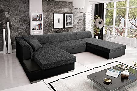 Sofa Couchgarnitur Couch Sofagarnitur KRETA 3 U Polstergarnitur Polsterecke Wohnlandschaft mit Schlaffunktion