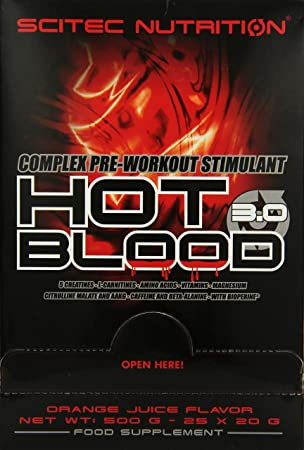 Scitec Nutrition Hot Blood 3.0 Box Orange Juice, 1er Pack (1 x 500 g)